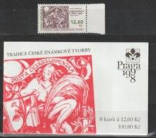 MiNr.165 + MH 52 Tschechische Republik: 1998, 20. Jan. Tradition Tschechischer Briefmarkengestaltung. - Tschechische Republik