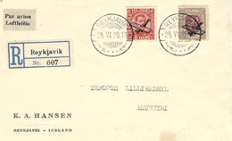 1929- Reg. Air Mail Cover From Reykjavik To Akureyri  Fr. Y & T   N°1 & 2 - 1918-1944 Administration Autonome