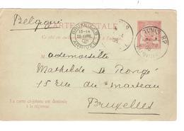 PR6040/ Entier CPRP Volet Réponse Tunisie C.Tunis 22/8/1908 V.Belgique C.d'arrivée BXL - Tunisia (1888-1955)