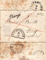 """ESCHENBACH: Lettre Avec Correspondance 1853, Pour PRESSATH  Linéaire """"CHARGE"""" - Marcophilie"""