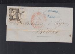 Spanien Espana Falthülle 1850 San Sebastian Nach Bilbao - 1850-68 Königreich: Isabella II.