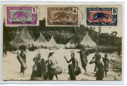 OUBANGUI CHARI  Carte PHoto Auguste BECHAUD Indigènes   SANGO Guerriers Lances Timbrée En 1923    /D23-S2018 - Central African Republic