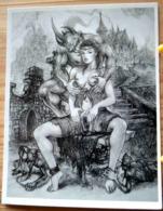 FEMME NUE OFFERTE AU DIABLE LES FOSSES DE DANTE CLAUDE MARRACHE DESSIN FEMME NUE AU VERSO - Drawings
