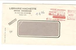 """75 PARIS EMA Rouge Du 25/6/1965 André MAUROIS """"Prométhée Ou La Vie De BALZAC"""" Ecrivain Librairie Hachette 535 - Marcophilie (Lettres)"""
