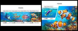 MALDIVES 2018 - Fishes, Nautilus. M/S + S/S Official Issue - Schelpen