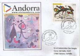 """ANDORRA.Tableau Joan Miro """"Casa De La Vall"""", FDC Annee 2018 - Modern"""