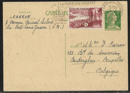 Entier Postal CP 12 F Marianne De Muller + TP 6 F Pour La Belgique - Secap La Ferté Sous Jouarre 25.3.1957 - 1955- Marianne Of Muller