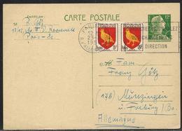 Entier Postal Carte Postale 12 F Marianne De Muller + 2 X 3 F Blason D'Aunis Pour L'Allemagne, Secap Paris XV 25.3.1956 - 1955- Marianne Van Muller