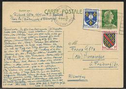 Entier Postal Carte Postale 12 F Marianne De Muller + 1 F Bourbonnais Et 5 F Saintonge Pour L'Allemagne, Secap Paris XV - 1955- Marianne De Muller