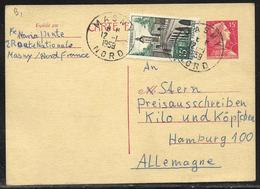 Entier Postal Carte Postale 15 F Marianne De Muller + 15 F Le Quesnoy Pour L'Allemagne, Tàd Masny / Nord 12.1.1959 - 1955- Marianne Of Muller