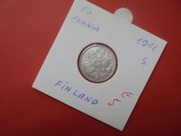 """FINLANDE (OCCUP. RUSSE) 50 PENNIA 1916 """"S"""" ARGENT - Finland"""