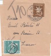 Bande Journal 5 Pfg Obl LUZERN Du 4 III 62 Adressée à Luzern Et Taxée 10 Pfg - Schweiz