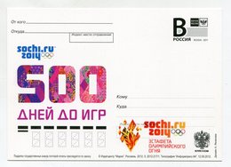 """2012 RUSSIA POSTCARD """"B"""" 500 DAYS TO WINTER OLYMPIC GAMES SOCHI 2014 OVERPRINT OLYMPIC TORCH RELAY - Inverno 2014: Sotchi"""