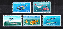 Colombia  - 1966. Manta,polpo,pesci Volanti,carangidi,barracuda. Manta, Octopus, Flying Fish, Jack, Barracudas. Rare!MNH - Pesci