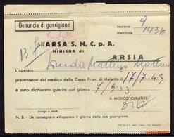 ITALY ITALIA ARSIA POLA 1943. ARSA S.M.C.P.A. MINIERA DI ARSIA - Historical Documents