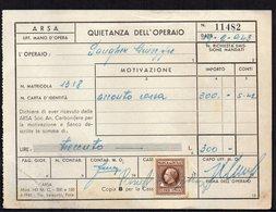 ITALY ITALIA POZZO LITTORIO 1941. ARSA QUIETANZA DELL' OPERAIO - Historical Documents