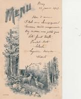 71 - BUXY - Menu Du 27 Janvier 1907 De Monsieur De Laboulaye       ( 10,3 Cm X 16,3 Cm ) - Menus