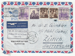 Egypt Air Mail Letter Cover Travelled 1955 To Switzerland B181010 - Egypt