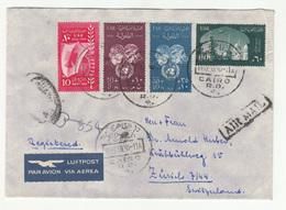 Egypt Air Mail Letter Cover Travelled Via 1959 To Switzerland B181010 - Egypt