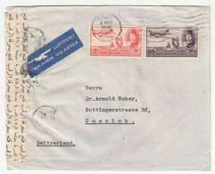 Egypt Air Mail Letter Cover Travelled Via 1950 To Switzerland - Censored B181010 - Egypt