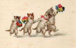 Vends Carte ' CHATS HUMANISES '    Porteurs De Fleurs - Katzen