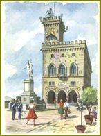 CP Service Du Tourisme,aquarelle-A.Mondadori-Republica San Marino -Il Palazzo  Del Governo ,numerotée + Date 6-6-1957 - Saint-Marin