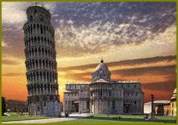 CPSM-fotocolor Kodak-Pisa -Piazza Dei Miracoli-Tramonto-coucher Du Soleil - Contre La Lumière