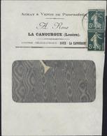 Enveloppe A Roux La Canourgue Lozère YT 137 + Entier Découpé 5c Vert Semeuse Camée Storch C1 CAD La Canourgue 11 2 07 - Entiers Postaux