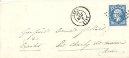 2165 LIZY Seine Et Marne Lettre Entière Ob Petits Chiffres 1744 Du 9 06 1860 Empire 20 C Yv 14 - Marcophilie (Lettres)