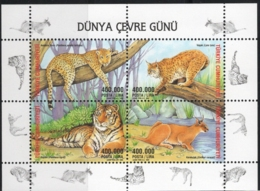 Turkey 2002 Big Cats Block MNH Panthera, Lynx, Tiger, Caracal - Big Cats (cats Of Prey)