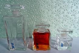 """Suite De 3 Flacons Tout En  Verre """"IFF"""" (International Flavors & Fragrances) Pour Collection Ou Décoration - Bottles (empty)"""
