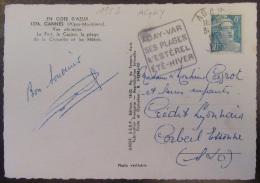 Flamme Daguin Agay-Var 1953 Sur Carte Postale Cannes - Timbre Marianne Gandon 8f YT N°810 - Marcophilie (Lettres)