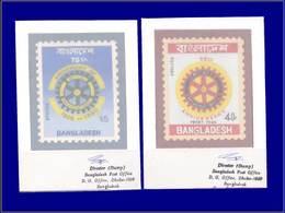 Qualité: MAQ - 138/9, 2 Maquettes Originales Gouache (90x70), Types Non Adoptés: Rotary 1980. - Bangladesh
