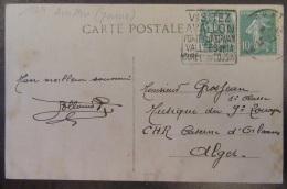 Flamme Daguin Avallon 1924 Sur Carte Postale - Timbre Type Blanc 5c YT N°111 Et Semeuse 10c YT N°159 - Marcophilie (Lettres)