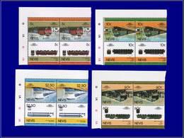 """Qualité: XX - 221/28, 4 Doubles Paires, Complet, Tous Avec Erreur """"impression Du Centre Renversée"""": Locomotives. (Certif - St.Kitts And Nevis ( 1983-...)"""