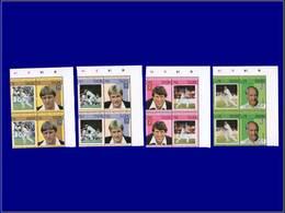 Qualité: XX - 239/46, 4 Doubles Paires, Complet, Tous Avec Erreur Centre Renversé: Base-ball. (Certificat Calves). - St.Kitts And Nevis ( 1983-...)