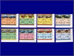 """Qualité: XX - 251/66, 8 Doubles Paires, Complet, Tous Avec Erreur D'impression Noire Renversée """"légende & Faciale"""" Autos - St.Kitts And Nevis ( 1983-...)"""