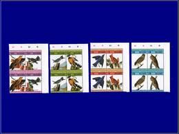 """Qualité: XX - 271/78, 4 Doubles Paires, Complet, Tous Avec Erreur """"impression Du Centre Renversée"""", Cdf: Oiseaux De Audu - St.Kitts And Nevis ( 1983-...)"""