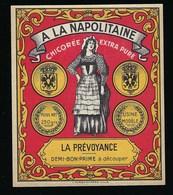"""Ancienne Etiquette Chicorée Extra Pure """" A La Napolitaine """" La Prévoyance Demi Bon Prime à Découper Imp J Guermomprez - Fruits Et Légumes"""