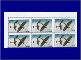 Qualité: XX - 362, Bloc De 6, Piquage Horizontal En Diagonale: 2.50 Spitfire. - St.Kitts And Nevis ( 1983-...)