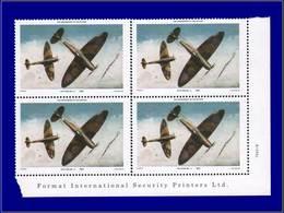 Qualité: XX - 362, Bloc De 4 Sans Impression Du Noir (faciale Et Pays), Cdf: (2.50) Spitfire MK1A. - St.Kitts And Nevis ( 1983-...)