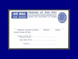 "Qualité: N - Aérogramme 18p. Bleu George VI, ""Prisoner Of War Post"". - New Zealand"
