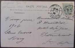 Flamme Daguin 1er Type Sur Carte Postale Fantaisie (bonne Année) - Circulée Le 1er Janvier 1906 - Nantes - Marcophilie (Lettres)