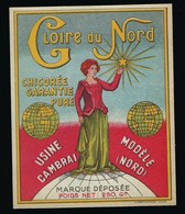 """Ancienne Etiquette Chicorée Garantie Pure  """" Gloire Du Nord """" Usine Modèle Cambrai Nord  Poids Net 250g """"femme étoile """" - Fruits Et Légumes"""
