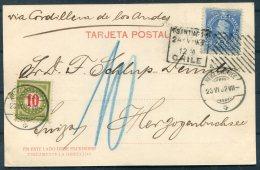 1902 Chile Santiago, Los Tribunales Postcard - Herzogenbuchsee, Switzerland. Postage Due, Taxe - Chile