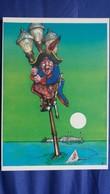 CPM ILLUSTRATEUR PAT THIEBAUT PIRATE ACCROCHE REVERBERE REQUIN ENGHIEN 1989 1 ERE RENCONTRE ARTISTES N° 1447/ 3000 - Illustrateurs & Photographes