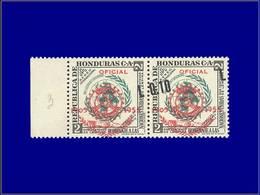 """Qualité: XX - 212, Paire Bdf, Surcharge Diagonale, Un Ex. Sans Valeur """"0.10"""" (5 Pièces Possibles): 0.10/2c. Rotary. - Honduras"""