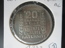 20 Francs Turin Argent 1933 TTB N° 1 - France