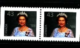 CANADA - 1992  43c  QUEEN ELISABETH  PAIR EX  BOOKLET  MINT NH - 1952-.... Regno Di Elizabeth II