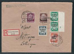Einschreibebrief Von DANZIG-OHRA-NORD Nach METTINGEN Lothringen Mit  DR 717, 718, 720 HAN 739, Luxemburg 6 Und 8 - Briefe U. Dokumente